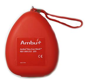 Ambu Res-Cue Mask maschera di respirazione hardcase rosso con valvola O2
